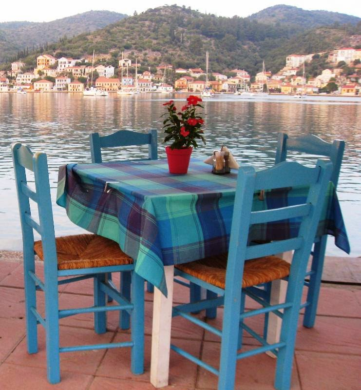 Table and chairs on the sea front