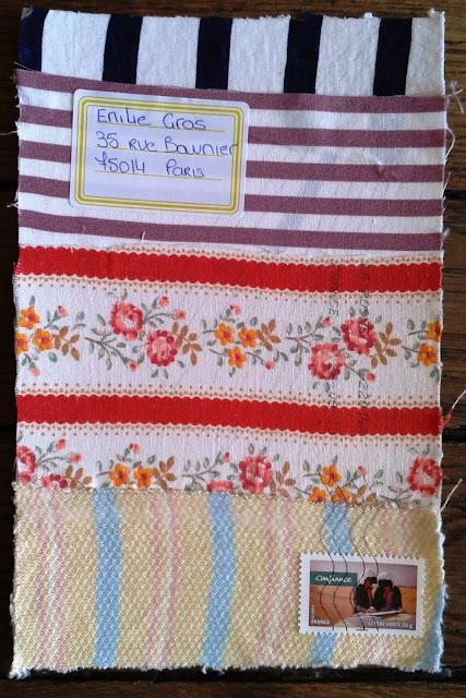 Un mail art textile rayé pour Emilie Gros