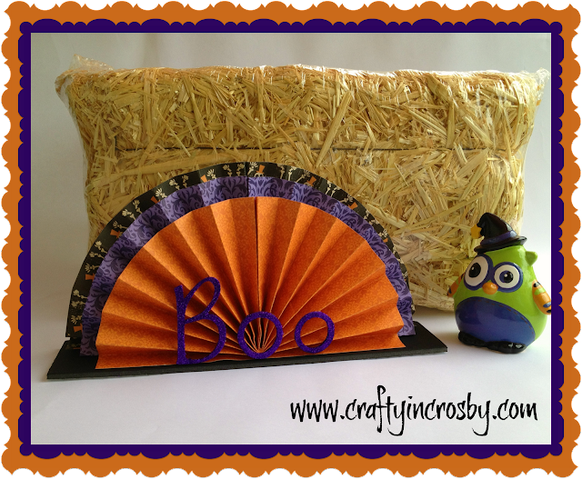 Halloween decor, folded paper centerpiece, www.craftyincrosby.com