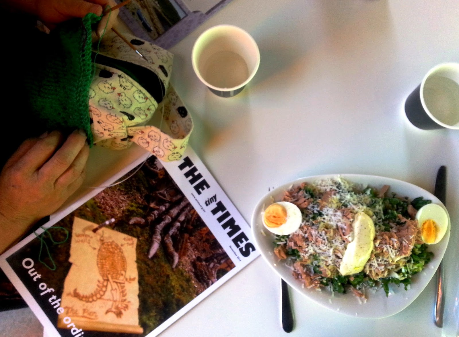 Some knitting, a copy of The tiny Tomes and a tuna nicoise salad on a cafe table.