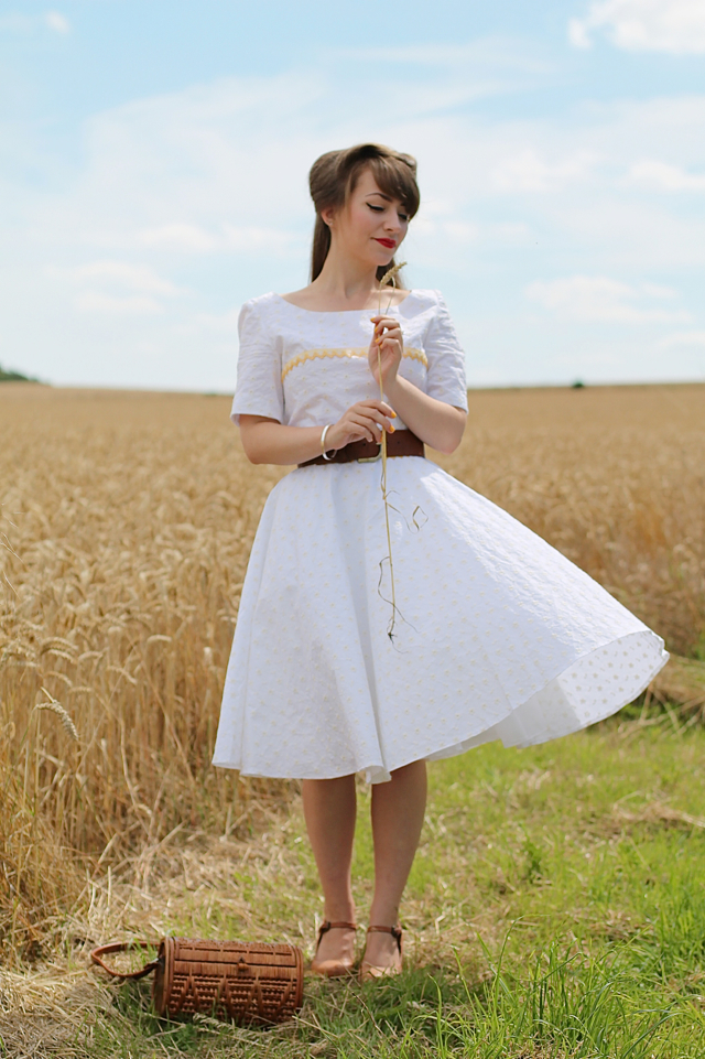 50s Inspired Vintage Broderie Anglaise Dress by The Apricot Rose