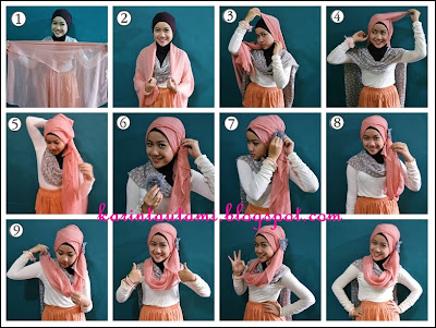 anda bisa melihat cara memakai jilbab modern atau cara memakai jilbab