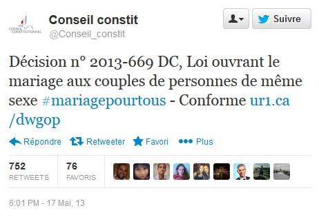 Conseil Constitutionnel Mariage pour tous