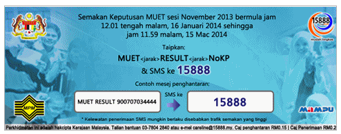 Check MUET Results SMS/Online