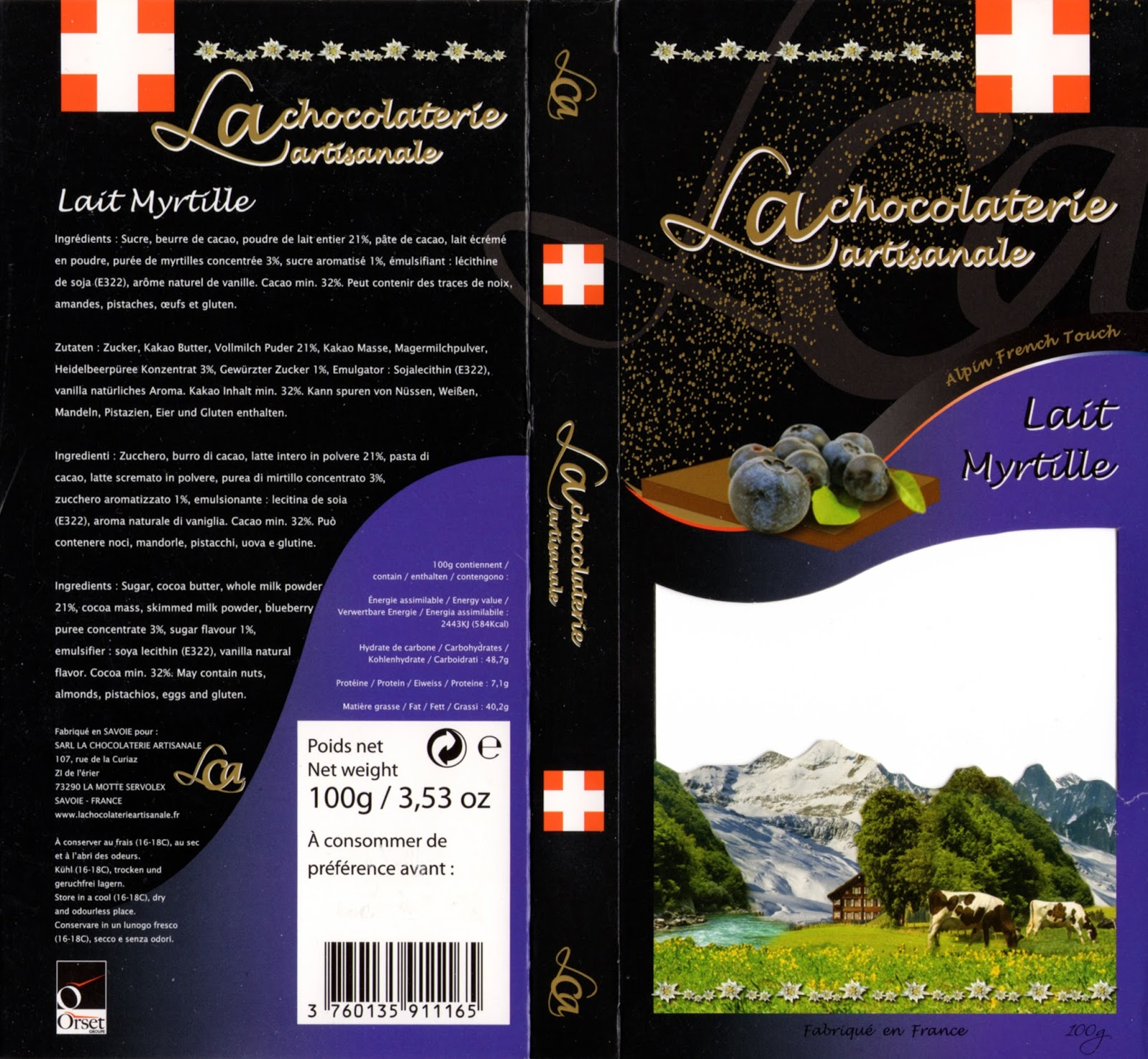 tablette de chocolat lait gourmand la chocolaterie artisanale lait myrtille