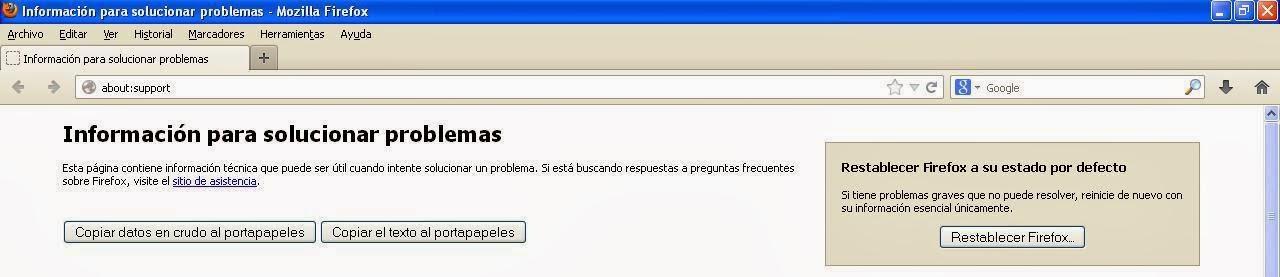 Botón Restablecer Firefox