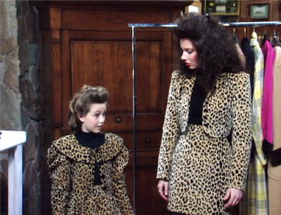 Fran and child in matching leopard