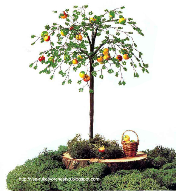 Дерево яблоня из бисера.