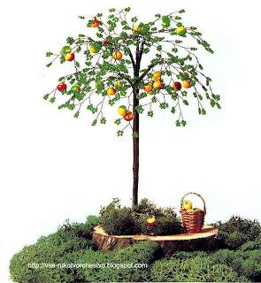 Дерево яблоня из бисера. Мастер-класс