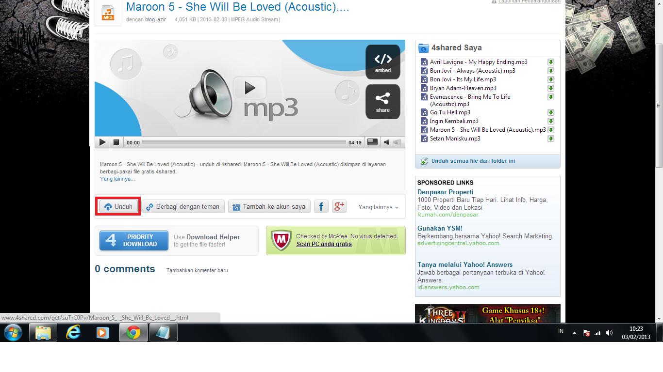 Cara Download Lagu Mp3 Di 4Shared Lengkap Tanpa IDM