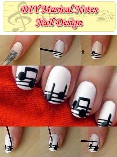 DIY Musical Notes Nail Design