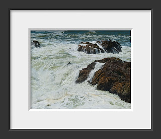 The mighty Pacific Ocean crashes into the rocky shore of California at Bodega Bay.