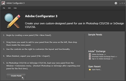 Adobe Configurator Welcome Screen