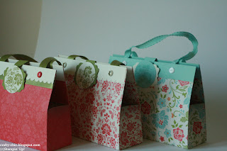 handmade gift bags, stampin up, patterned papers
