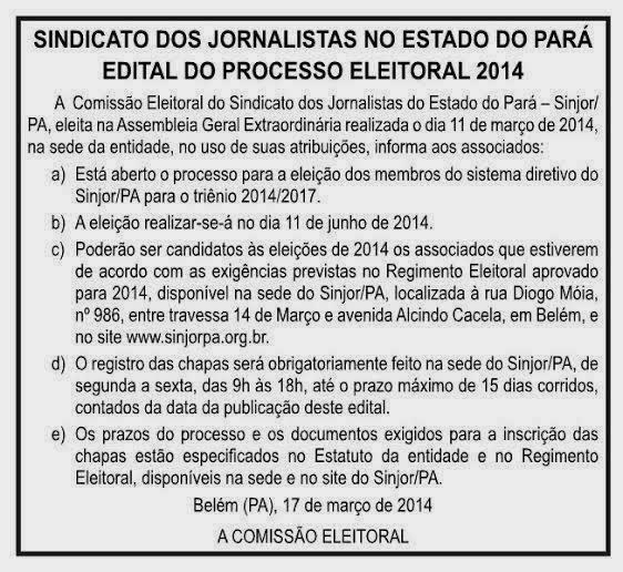 SINDICATO DOS JORNALISTAS DO PARÁ  NOTA