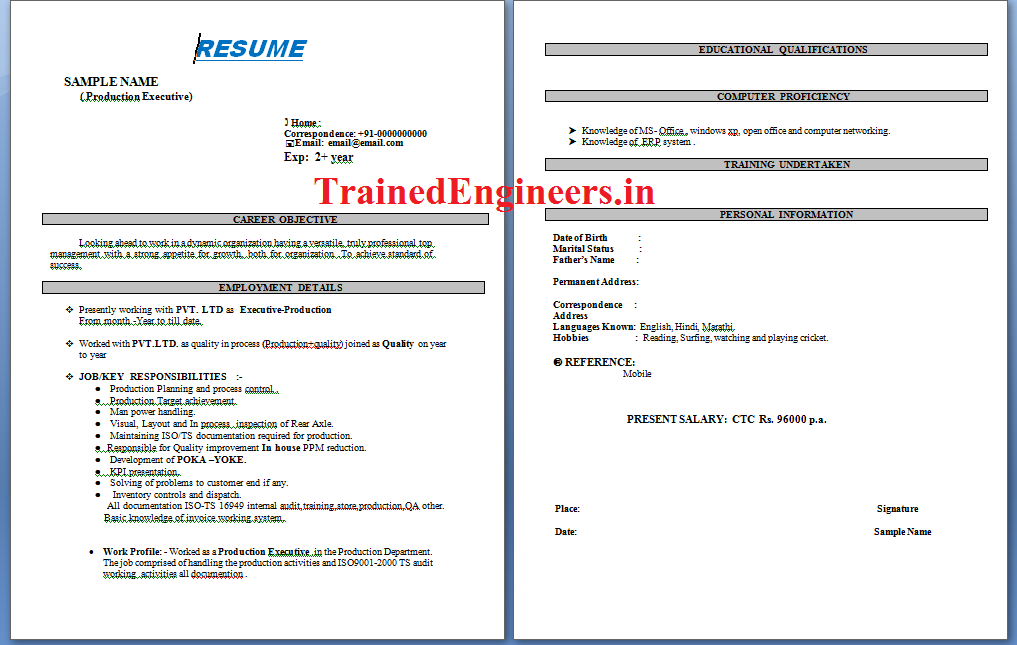 download resumes format for production engineers - Principal Mechanical Engineer Sample Resume