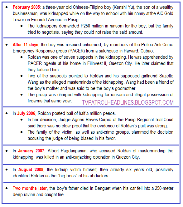 Dennis Roldan Kidnap for Ransom case timeline