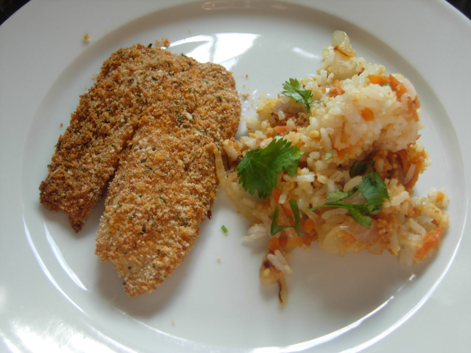 Spicy baked fish carrot rice and indian milk balls for Baked fish and rice