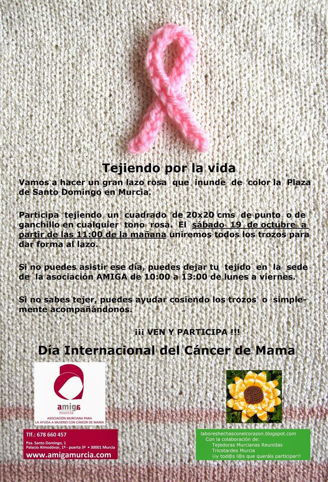 Anuncio de la quedada del día 19 de octubre de 2013 para hacer un gran lazo rosa tejido.