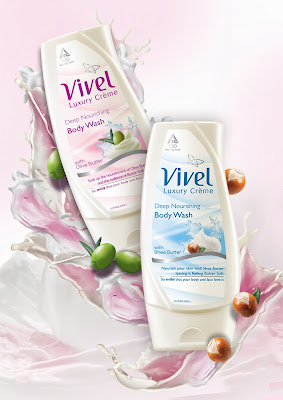 vivel luxury creme body wash with olive and shea butter
