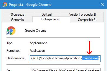 Nome collegamento programma Windows