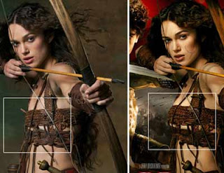 Keira Knightly com um implante instantâneo no cartaz do filme Rei Arthur