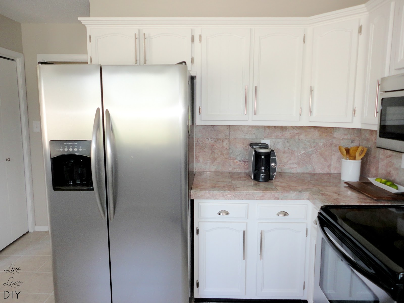 kitchen cabinets painted white before and afterLiveLoveDIY How To Paint Kitchen Cabinets in 10 Easy Steps