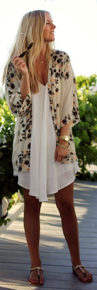 Lovely Summer Floral Print Cover and White Lace Dress Combination. Summer 2015 Fashion Ideas.