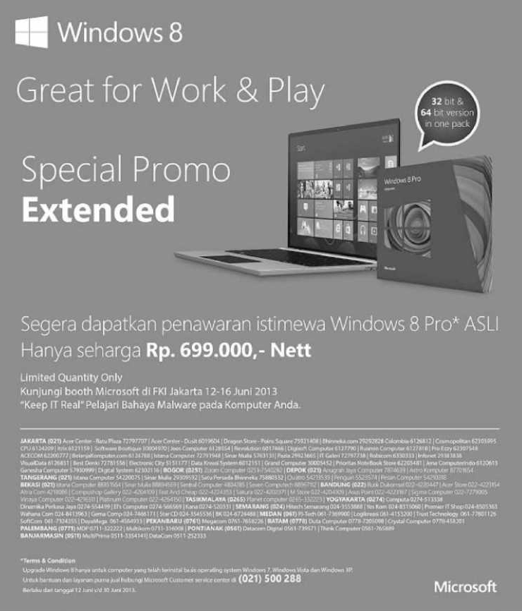 Windows 8 Pro Asli Rp 699.000