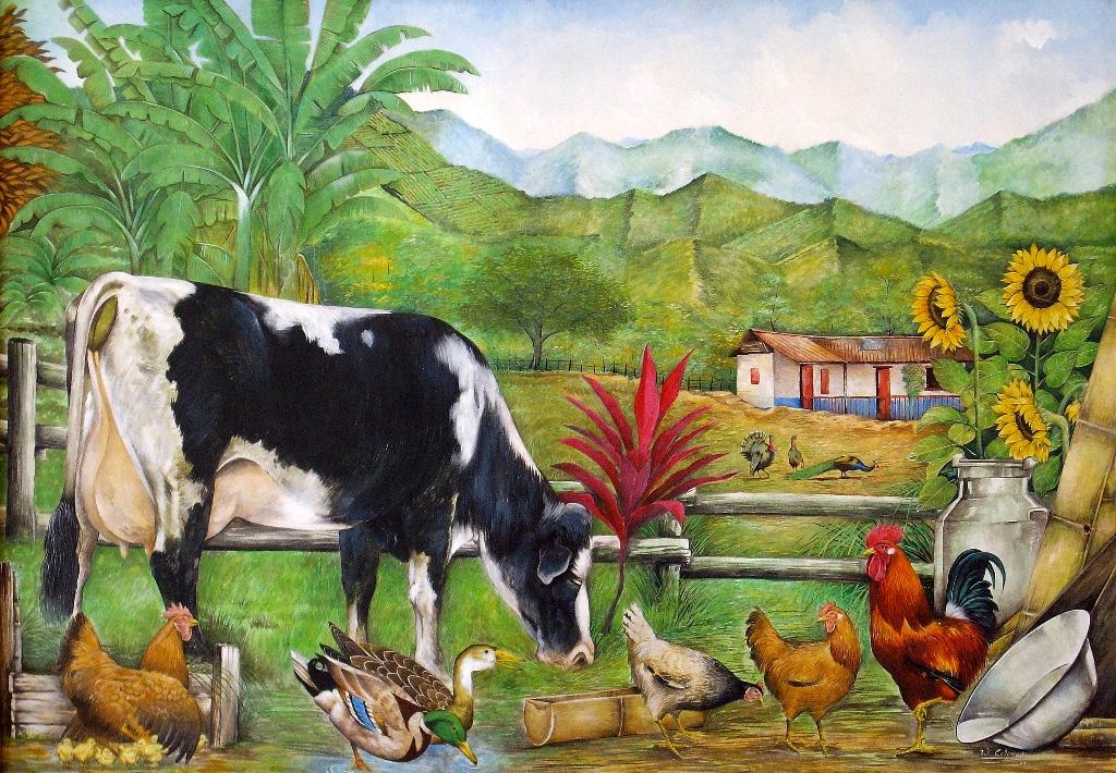 Pintura moderna y fotograf a art stica finca con animales vacas gallinas y pato - Cuadros de vacas ...