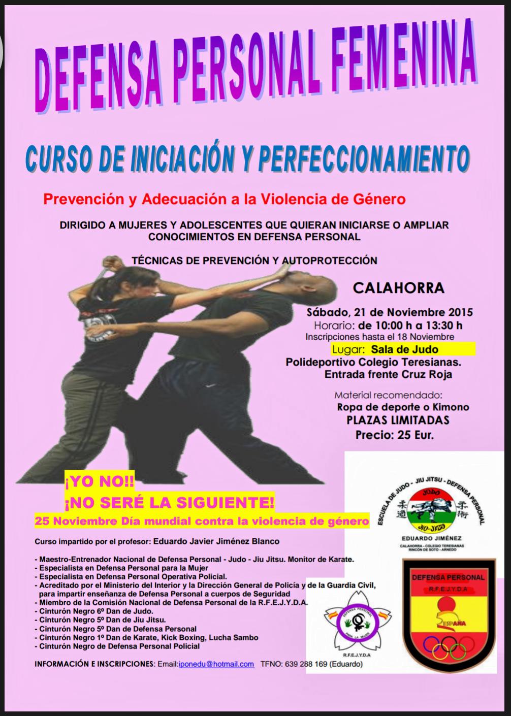 CURSO DEFENSA PERSONAL PARA LA MUJER Y ADOLESCENTE. 21 NOVIEMBRE DE 2015
