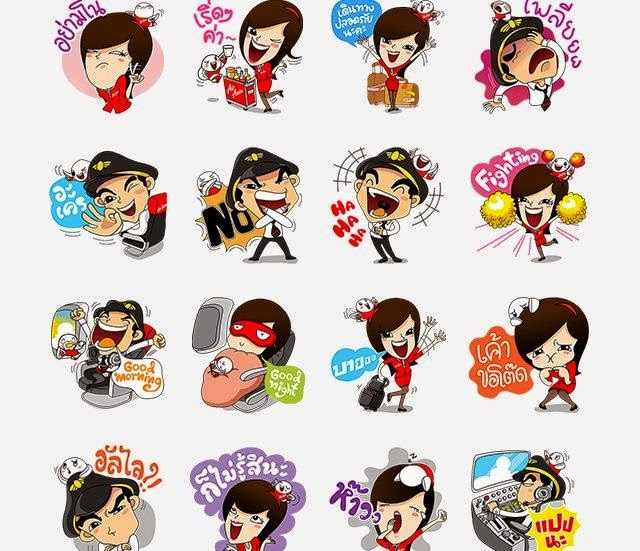 Free Line stickers Captain AA & Nong Air