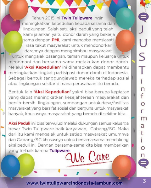 Just Information : We Care - Donor Darah Twin Tulipware with PMI