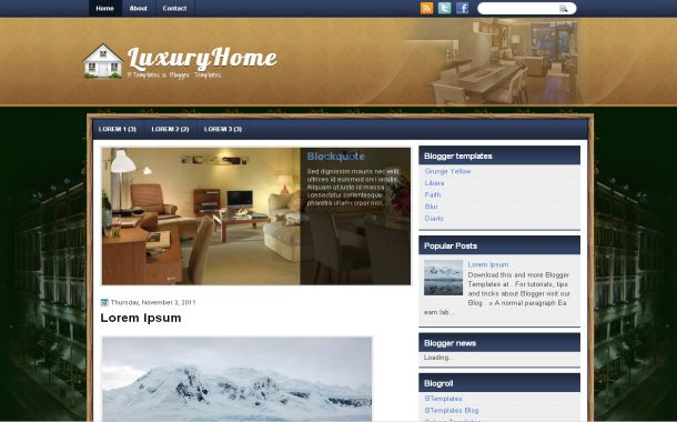 Luxury Brown Green Free Blogger Theme Template