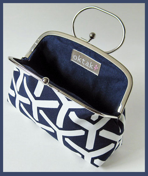 Navy Trident Frame Purse with Handle from Oktak