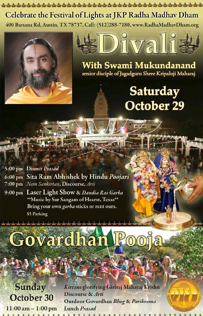Celebrate Divali with Swami Mukundananda at Radha Madhav Dham