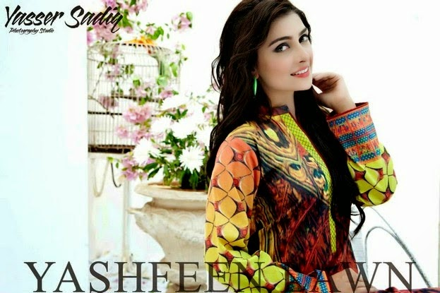 Yashfeen Lawn Dress Collection by Ayeza Khan