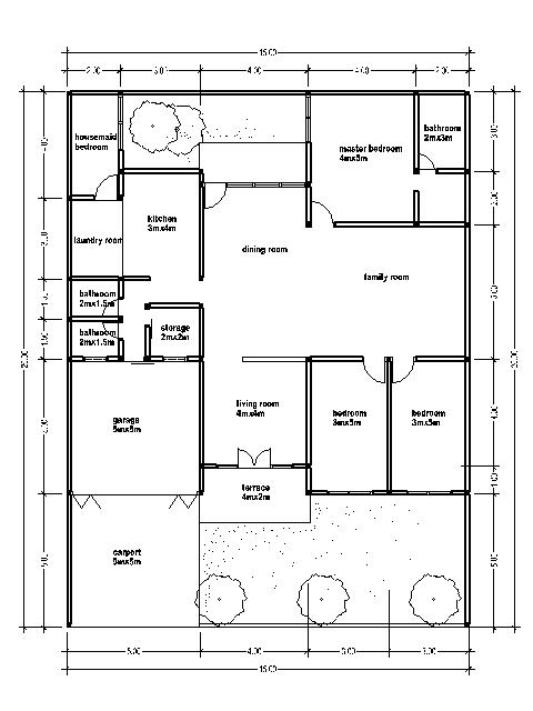 House plan with a wide area 15 m bedroom furniture ideas - Meter wide house plans ...