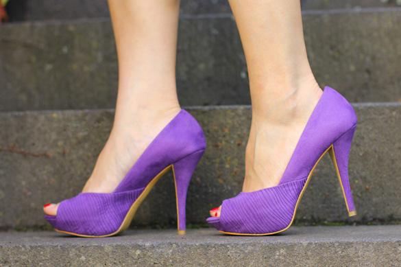 Zara Lilac Peep Toe Heels