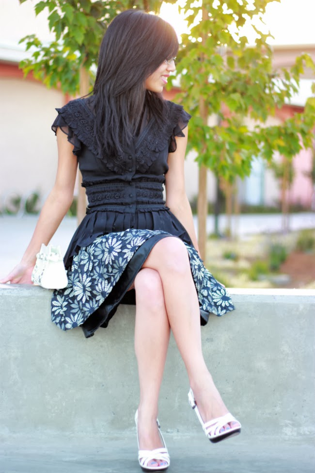 double poof peplum full pleated skirt