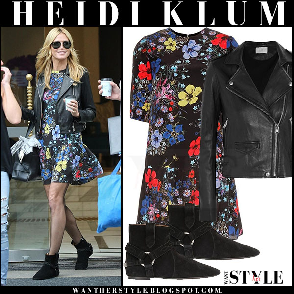 Heidi Klum in black biker iro ashville jacket and floral print erdem mini dress what she wore model style