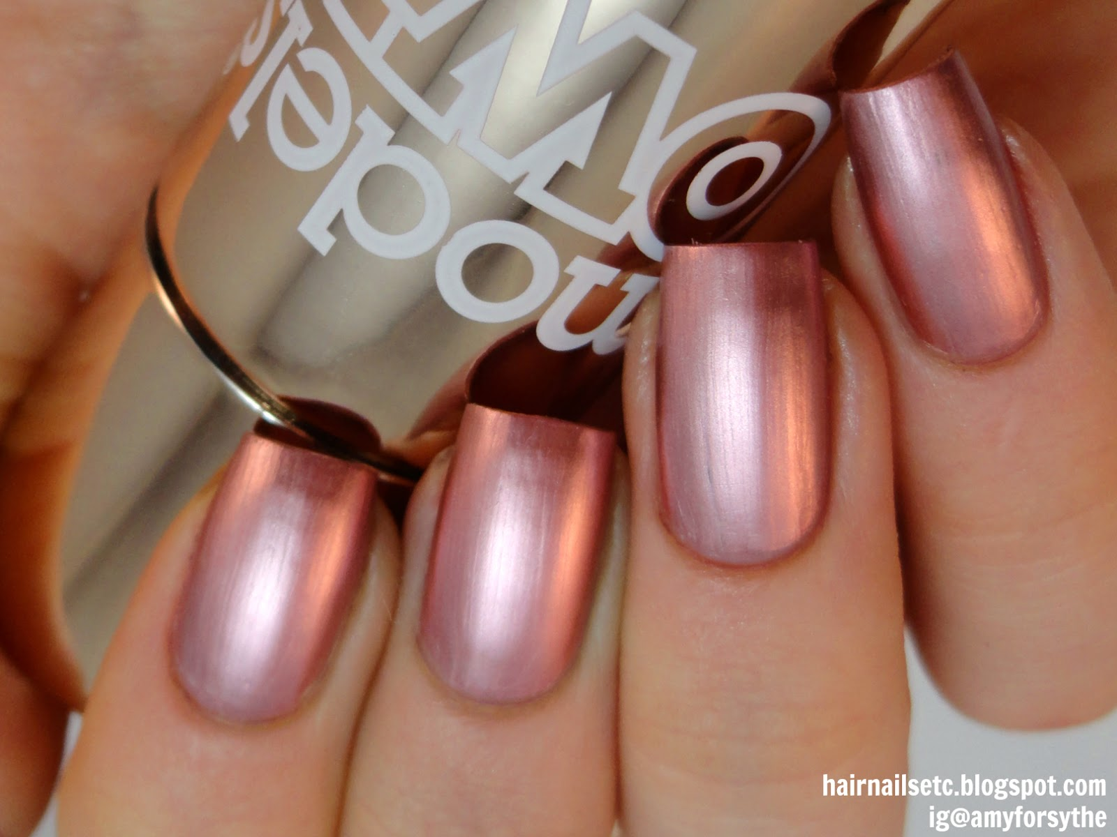 Models Own Colour Chrome Rose Nail Polish swatch and review