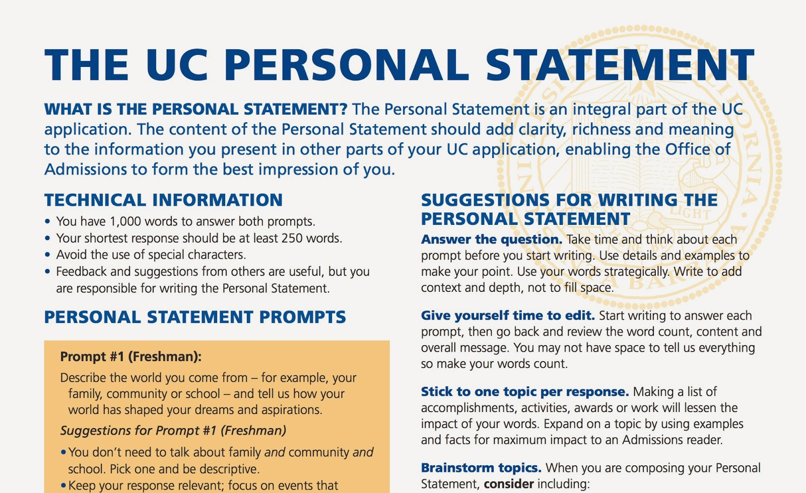 How to Answer UC s Personal Insight Questions
