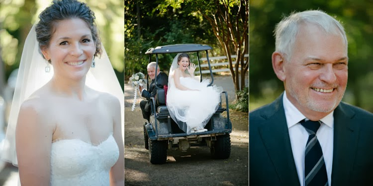 bride riding on a golf cart to wedding ceremony with her dad