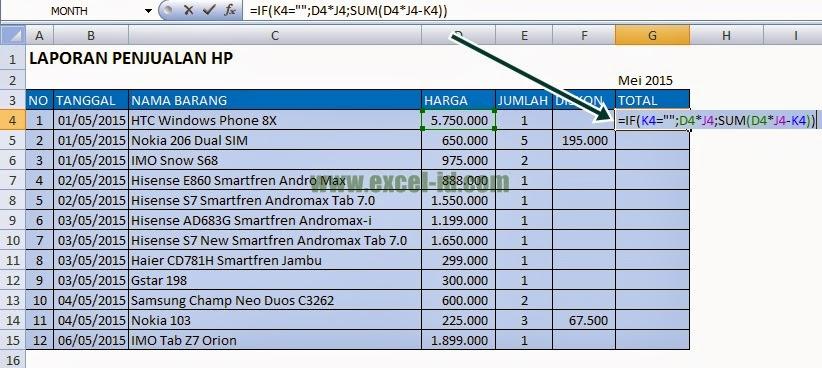 Laporan penjualan HP dengan Excel
