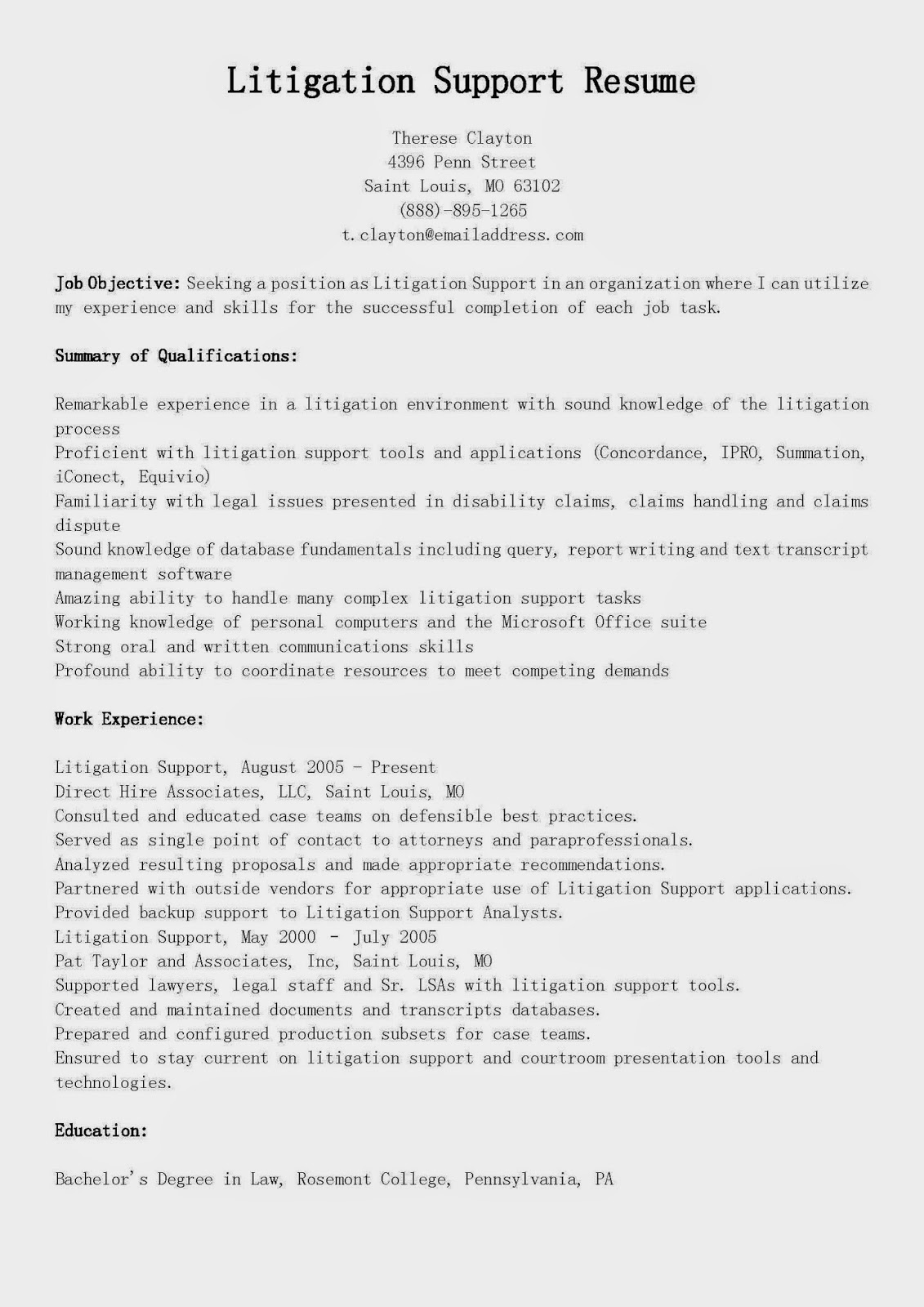 resume samples  litigation support resume sample