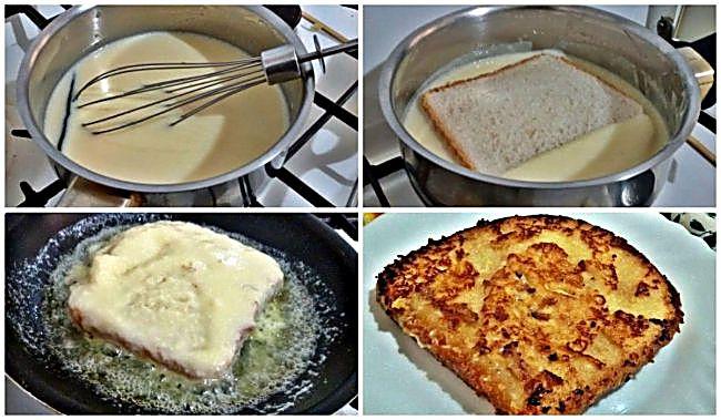 Preparación de la tostada francesa de crema