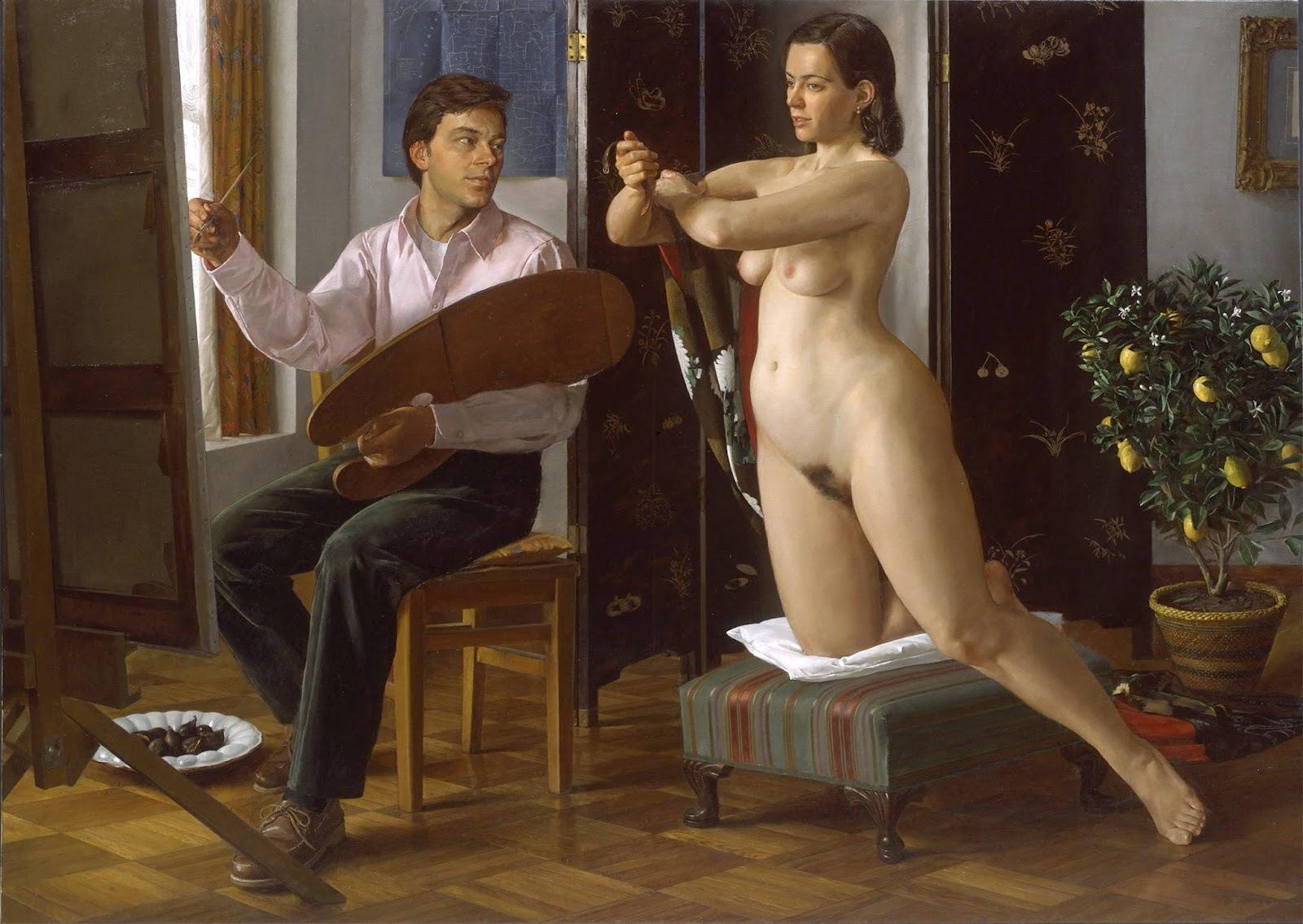Художница рисует голого мужика, Дочь художница рисует с натуры папин член, сосёт его 3 фотография