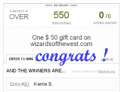 Wizards of the West giveaway winner