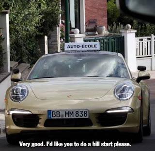 Teste de direção em um Porsche